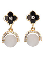 Women's Classic Elegant Clovers Pearl Stud Earrings HJ0050