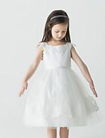 Цветочница платье - Бальное платье Длина до колен Без рукавов Атлас/Тюль
