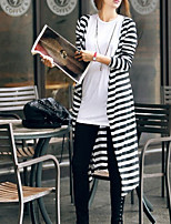 Women's Striped/Solid White/Black/Gray Cardigan , Casual ¾ Sleeve
