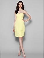 Knee-length Georgette Bridesmaid Dress - Daffodil Sheath/Column Sweetheart