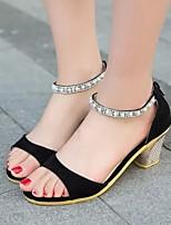 Chaussures Femme - Habillé - Noir / Rose / Beige - Gros Talon - Confort / Bout Ouvert - Sandales - Faux Daim