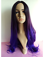 Fashion Women's Mixed Color Purple Wig Cosplay Party Natural Wavy Wig Sexy Synthetic Hair