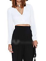 Women's Solid White Shirt , V Neck Long Sleeve
