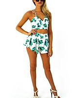 Women's Sexy Beach Print Cute Plus Sizes Inelastic Sleeveless Short  Suit (Polyester)