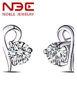 NBE Sterling Silver/Zircon Heart Earring Stud Earrings Wedding/Party/Daily/Casual 1pair