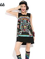 Women's Printed Summer Sleeveless Long Loose T-shirt