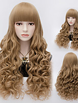 70cm Flat Bang Kawaii Curl Wave Full Hair Party Wig Brown