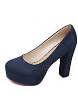 Women's Shoes Fleece Chunky Heel Heels / Platform/Comfort/Closed Toe Heels Office & Career/ Casual Black/Blue/Burgundy