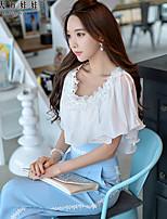 Pink Doll®Women's Round Casual/OL Ruffle Beaded Shirt