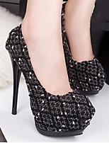 Women's Shoes Leatherette Stiletto Heel Heels Pumps/Heels Casual Black/Blue