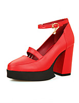 Women's Shoes Synthetic Chunky Heel Heels/Basic Pump Pumps/Heels Office & Career/Dress/Casual Black/Red/White