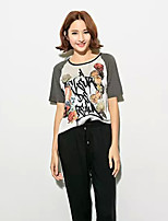 Women's Casual/Print Micro-elastic Short Sleeve Regular T-shirt (Cotton/PU)