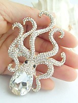 Women Accessories Gold-tone Clear Rhinestone Crystal Octopus Brooch Art Deco Crystal Brooch Women Jewelry