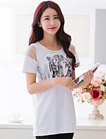BIAOSHANG®Women's Print Plus Sizes Micro-elastic Short Sleeve Long T-shirt (Cotton)