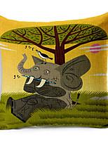 Stylish Cartoon Elephant Patterned Cotton/Linen Decorative Pillow Cover