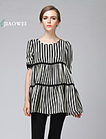 Women's Sexy/Casual/Cute/Party/Work/Plus Sizes Micro-elastic Short Sleeve Regular Blouse