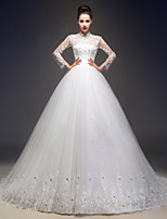 A-line Wedding Dress - Ivory Court Train High Neck Tulle