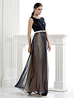 Formal Evening Dress - Dark Navy Sheath/Column Scoop Floor-length Chiffon/Lace
