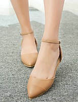 Women's Shoes Flat Heel Heels/Pointed Toe /Ankle Strap/ Dress  Casual/Khaki/Pink/Beige