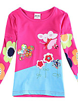 Girl's T shirt New 2015 Floral Kids Shirts Flower Embroidery Children Tees (Random Printed)