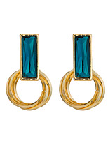 Women's Individuality Square Inlay Zircon Stud Earrings HJ0093
