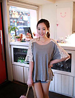 Women's Solid Gray T-shirt , Round Neck ½ Length Sleeve Hollow Out