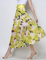 Women's Beach/Casual/Print/Work/Maxi Elegent Thin Maxi Skirts (Polyester)