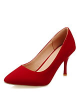 Women's Shoes Fleece Stiletto Heel Heels/Pointed Toe Pumps/Heels Dress Black/Red/Navy