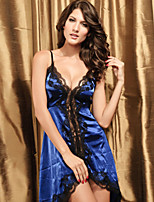 Women Polyester Sexy Lace V Neck Straped Sleepwear Gowns Blue