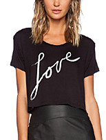 Women's Casual Crew Neck Short Sleeve Letters Printed Loose Punk Cropped Tops