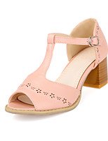 Women's Shoes Leather Chunky Heel Peep Toe Sandals Outdoor/Dress/Casual Blue/Pink/Purple/White
