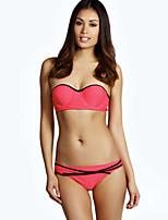 Women's Polyester Underwire Bra Sexy V Neck Solid Bandeau Bikinis