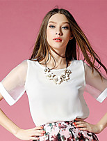 Women's Solid White Blouse , Round Neck Short Sleeve Mesh