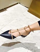 Chaussures Femme Cuir Kitten Heel Bout Pointu/Bride de Cheville Plates Extérieure/Décontracté Noir