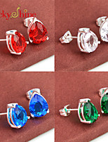 Drop Fire Blue Pink Topaz Green Red Quartz Gem Prong Setting Earring Stud Earrings For Wedding Party Daily 1pair