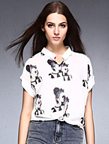 Women's Sexy Casual Print Work Inelastic Short Sleeve Regular Blouse (Chiffon)