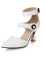 Women's Shoes Spool Heel Pointed Toe Pumps/Heels Party & Evening/Dress Black/Pink/White