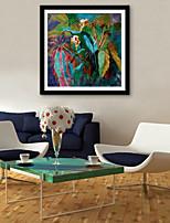 e-home® enquadrado arte da lona, folhas verdes e flores Impressão em tela emoldurada