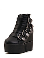 Zapatos de mujer Semicuero Plataforma Comfort/Botas Anfibias Botas Exterior/Vestido/Casual Negro
