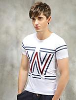 Herren Büro/Formal/Sport T-Shirt  -  Druck/Einfarbig Kurz Kaschmir/Baumwolle/Strickwaren/Lycra/Wolle/Wollmischung