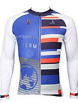 Deportes Bicicleta/Ciclismo Tops Hombres Mangas largas Transpirable / Resistente a los UV / Reductor del Sudor Coolmax Moda Azul oscuroS