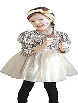 Kids Girls Spring Fall Puff Long Sleeved Leopard Printed Party tutu Dresses (Cotton Blends/Mesh)