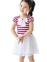 Kids Girl's Summer Striped Bow Gauze Princess Party Dresses (Cotton)