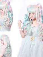 68 Cm Harajuku Lolita Perruque Full Curly Wig Anime Rainbow Ombre Cosplay Wigs Long Synthetic Wigs 2 Clips 0.6kg