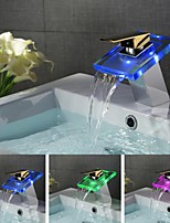 Contemporary Color Changing LED Chrome Finish Gold Handle Waterfall Bathroom Sink Faucet