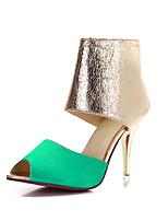 Chaussures Femme Similicuir Talon Aiguille Bout Ouvert Sandales Habillé Noir/Vert