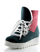 Women's Shoes Fleece Platform Round Toe Boots Dress Blue/Green/Pink