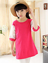 Girl's Summer Solid Color Cotton Dresses