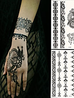 2 PC BlackLace Hena Body Tattoos Sticker For Girls,Women W306-310