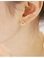 Women's Hollow Heart Silver Stud Earrings